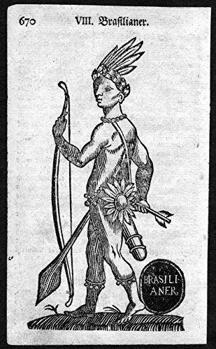 Brasilianer - Brasilien Brazil Indianer Tracht Trachten costumes Holzschnitt antique print