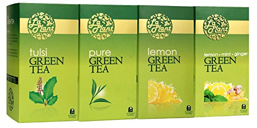 Laplant Green Tea Collection Ii - 100 Tea Bags (pack Of 4: Pure, Lemon, Tulsi & Mint & Ginger)