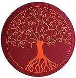maylow - Yoga mit Herz Stickerei Baum Des Lebens X Dinkelspelz Gefüllt-Bezug und Inlett 100% Baumwolle Yogakissen Meditationskissen, Buddhistisch Rot, 33 x 15 cm