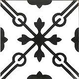 Zementfliesen Serie Via Maris, Musterfliese | Historischer Baustoff, Antik | Orientalisch, tiefschwarz | 20 x 20cm