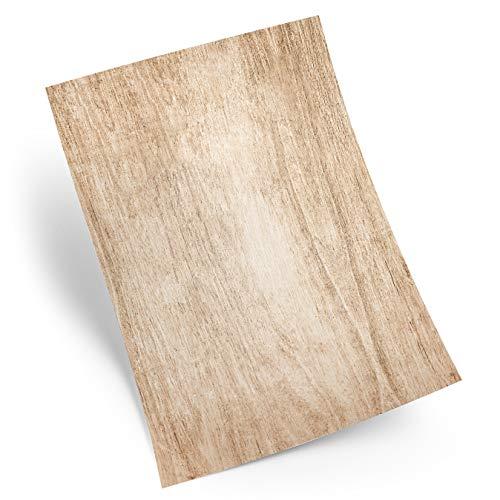 Logbuch-Verlag 25 Blatt Holz-Optik Briefpapier Holz Struktur Motivpapier DIN A4 Druckerpapier Papier braun Natur alt Vintage -