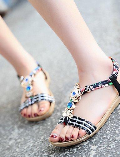 UWSZZ IL Sandali eleganti comfort Scarpe Donna-Sandali-Tempo libero / Formale / Casual-Spuntate-Piatto-Finta pelle-Nero / Beige beige