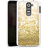 LG G 2 Hülle Schutz Hard Case Cover Glitzer Look Staub Gold