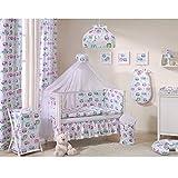Sevira Kids - 2er set Vorhänge aus 100% baumwolle für zimmer Kinder- - Eulen - Weiß, 2x 248x106 cm