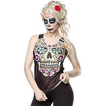 Mexicano Calavera Top Camiseta Tank Blanco y Negro Esqueleto de Halloween Horror gótico mujer