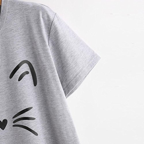 Imprimé T-Shirt, Malloom Femmes Mode Casual Manches Courtes O-Cou Chat Causal Blouse Tops Gris