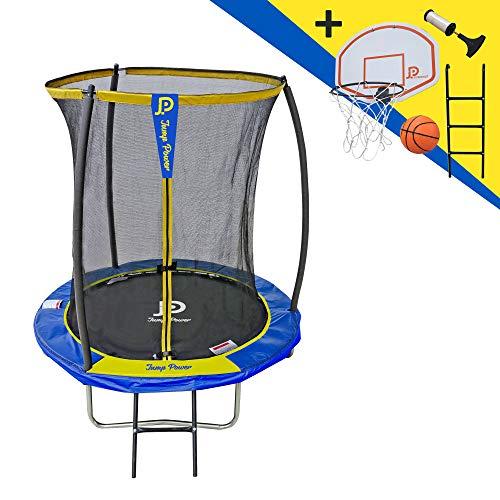 STARFLEX Jump Power Trampolin mit Leiter und Basketballkorb, Ø 183 cm, Unisex, Blau und Gelb