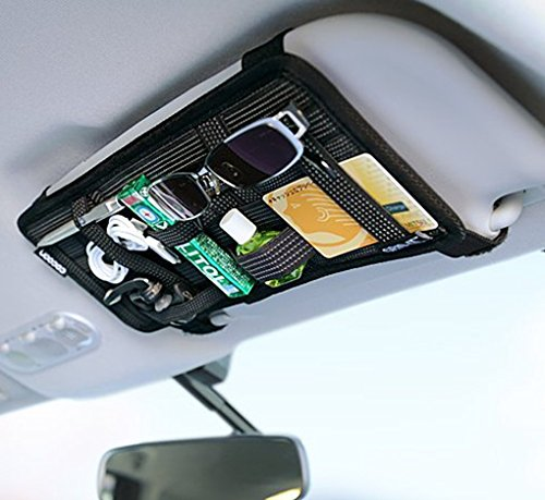 Auto Sonnenblende Tasche KFZ Organizer Mehrzweck Anti-Rutsch-elastische Nylon Auto Aufbewahrungstasche CD-Tasche für Handys Sonnenbrillen Kopfhörern