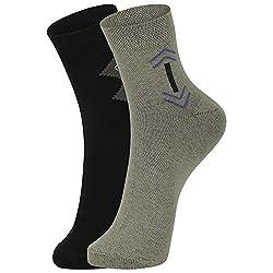 DUKK Men's Black & Green Ankle Length Cotton Lycra Socks (Pack of 2)