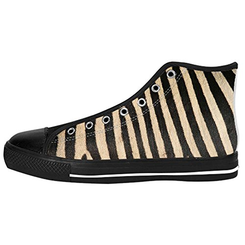 dalliy Zebra Stripe Kids Canvas Shoes Chaussures Lace Up High Top Footwear pour Sneakers A