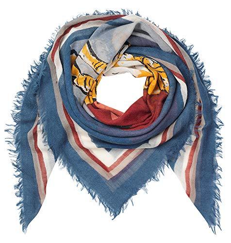 Becksöndergaard Damen Tuch Tria Dusty Blue Blau | Schal für Frauen Quadratisch viereckig | Soft & wärmend aus feiner Wolle - 1807765001-071 -