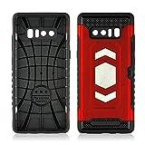Samsung Galaxy Note 8 Hülle,Handyhülle Schutzhülle mit Kartensteckplatz Silikon TPU Stoßfest Hüllen Bumper + Hard PC Shell Outdoor Case (Rot)