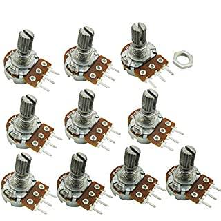 Aihasd 10PCS B10K 10K Ohm Adjustment Single Linear Rotary Taper Potentiometer Shaft 15mm