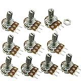 Aihasd 10PCS B10K 10K Ohm Adjustment Single Linear Rotary Taper Potentiometer Shaft 15mm