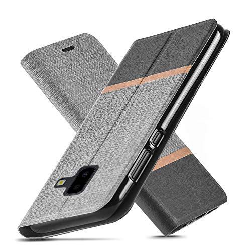 Cover Samsung Galaxy J6 Plus,Ultra Slim fit,Cavalletto,Slot per scheda,TPU, Anti-graffio, Cassa del raccoglitore dell'unità di elaborazione del cuoio di vibrazione per Galaxy J6 Prime (Grigio)