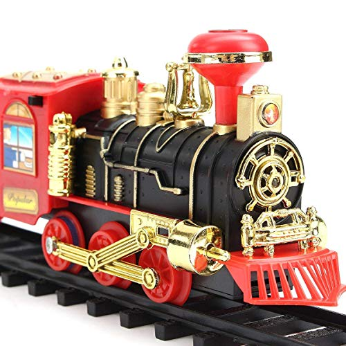 Limbakshit ABS Plastic Vintage Classical Toy Train Track Set with Light, Sound and Smoke Toys for Kids (Big) (Orange)