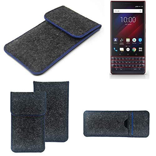 K-S-Trade® Filz Schutz Hülle Für -BlackBerry Key 2 LE Dual-SIM- Schutzhülle Filztasche Pouch Tasche Case Sleeve Handyhülle Filzhülle Dunkelgrau, Blauer Rand Rand