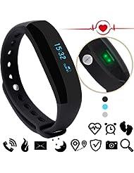 CUBOT V2 - Pulsera Unisex para la frecuencia cardiaca, el monitor del ritmo cardíaco, el monitor de la actividad - paso contador, contador de calorias, monitor del sueño compatible para Android e IOS, Negro