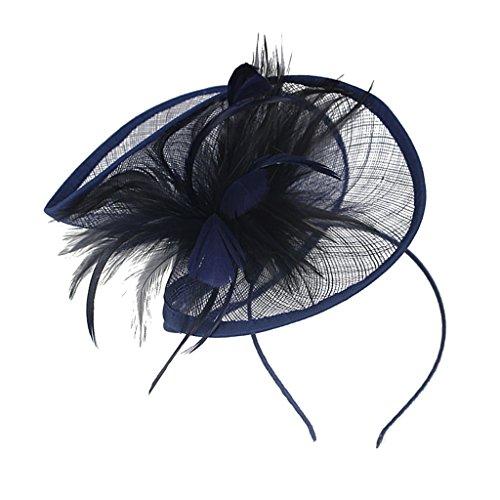 MagiDeal Feder Fascinator Derby Hut Haarschmuck Braut Headpiece Kopfschmuck Haarbänder - Navy blau