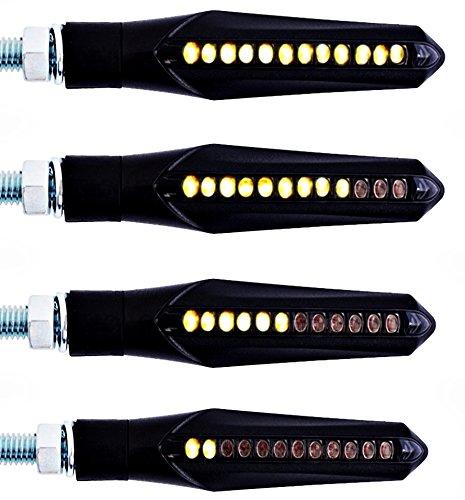SET: 4 sequentiell-laufende LED Motorrad Blinker, E-Zeichen, schwarz getönt 12V Sequentielle D-300 + BISOMO® Sticker