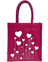H&B Pink Jute Handbag / Quality Lunch Bag / Gift Bag / Jute Stylish Lunch Bag / Combo Offers Of Jute Lunch Bags...