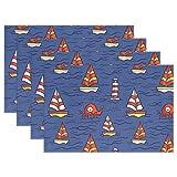 SENNSEE Segelboot Leuchtturm Muster Tisch-Sets Home Teller Fußmatte Esstisch hitzebeständig Küche Tisch Matte 30,5x 45,7cm, blau, Polyester, Mehrfarbig, 1 Stück