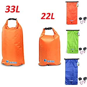 3 Colors BlueField Outdoor Waterproof Dry Bag Sack 22/33L /Samll/L-size Single/Double Shoulder Backpack for Camping Boating >> Color:22L Green