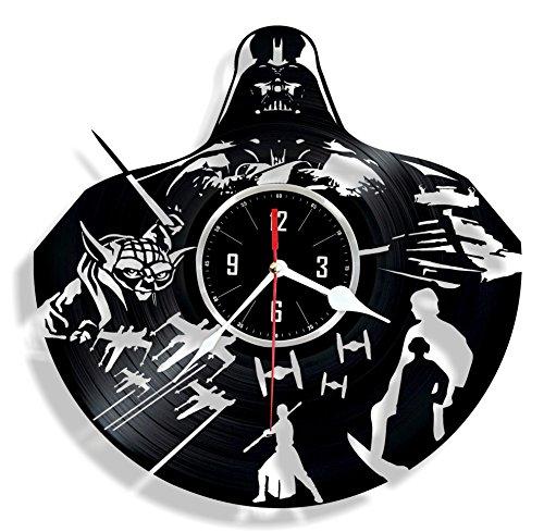 HMGift Dark Lord Vinyl Wanduhr-Tolles Geschenk für Geburtstag, Jahrestag Oder Jede Andere Gelegenheit-Schöne Home Decor-Einzigartiges Design, Das aus Retro Vinyl Record - Dark Vinyl-akzenten