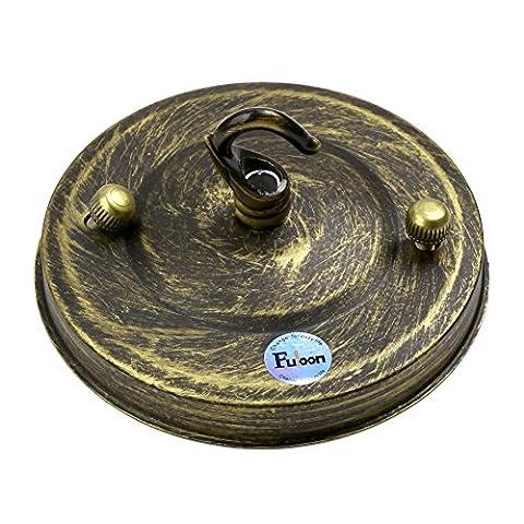 Fuloon Rétro Industriel Plaque de Montage Cache / Base avec Crochet en Fer pour Suspension Lustre Plafonnier Décoration de Plafond (Bronze)