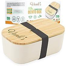 Vanlis Caja Bento de Bambú Ecológico   Fiambrera Reutilizable con Tapa de Madera   Lonchera para