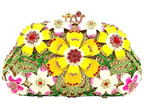 Donna Pochette Sera Borsetta Portafoglio Partito Cerimonia Borsa Sposa Spalla Frizioni Eleganti Fiore Bianco Yellow