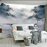 Wandbild Tapete 3D Berg Nebel Wald Wolf Tier Wandmalerei Fototapete Für Wohnzimmer Schlafzimmer Dekor Aufkleber Dekoration (W)250X(H)175Cm