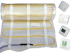 Fußbodenheizung Elektro, 160Watt/m², vollwertige Raumheizung für 1m² - 15m², für keramische Böden (Fliesen), inkl. Regler, Fläche:12 qm;Regler:Nr 760 (Digital-Regler)