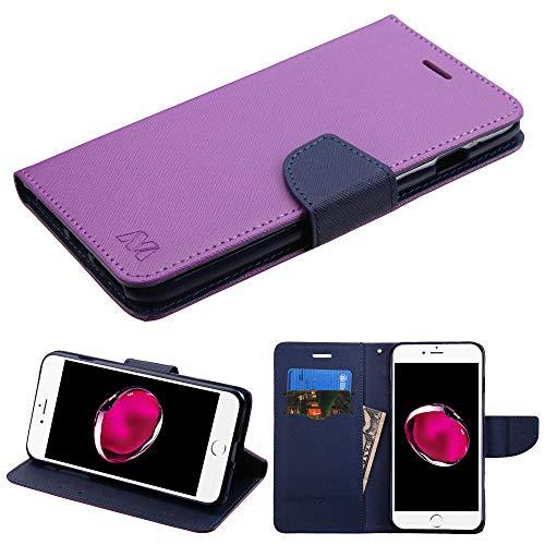 Schutzhülle + Tempered_Glas + Stylus, passend für Apple iPhone 7 Plus/8 Plus (auch für iPhone 6 Plus/6S Plus) MYBAT PU Leder Clutch Hülle mit Kartenfächern und Gurt Liner, Violett/Dunkelblau - Cell 6 Iphone Phones Plus Sprint