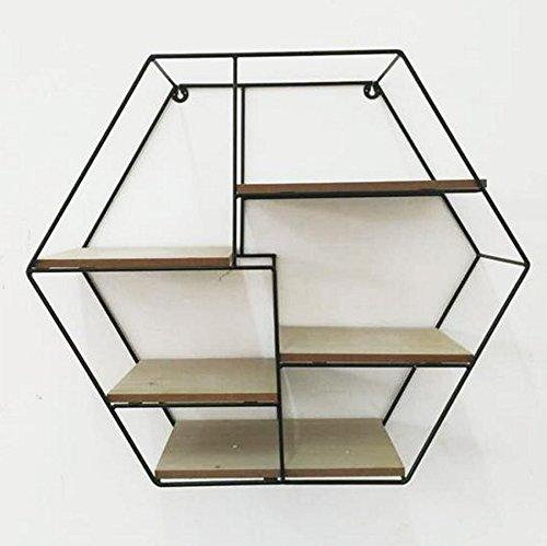 Txt scaffale parigi da parete esagonale con struttura in metallo e 5 ripiani in legno 54x19x47 cm