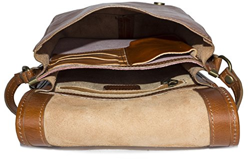 Big Handbag Shop da uomo in vera pelle Croce Corpo lavoro ufficio Borsa a tracolla Dark Tan - Small Size