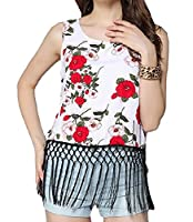 Tootlessly Women's Patterned Fringe Sleeveless Tank Top Shirts White L
