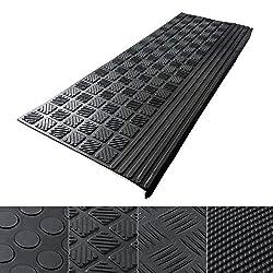 etm Anti Slip Stair Tread - Rubber Mats | 0.8cm Thick | Outdoor 100% Weatherproof | Superb Grip | Set of 5 - Diamond (25 x 65 cm)