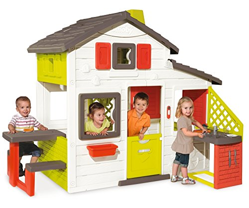 If you are looking for a solid plastic playhouse that can host a number of kids, consider the Smoby Friends House Playhouse And Kitchen. The first impression is amazing, with bright colours of white, red and yellow dominating structure.