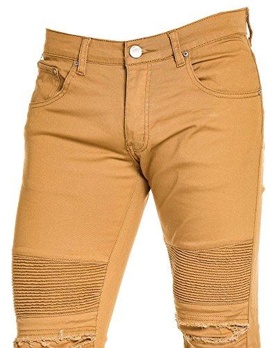 BLZ jeans - Jean homme camel fashion déchiré Marron