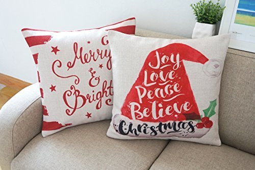 howarmer Baumwolle Leinen Weihnachten Deko Kissen Cover Set 18x 18Merry und Bright, Polyester-Mischgewebe, Hat Set of 2, 18