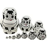 Cute Adorable Big Belly Shape Animal Theme Handmade Wooden Russian Nesting Dolls Matryoshka Dolls Set 10 Pieces For Kids Toy Birthday Christmas Easter Gift Home Decoration-Dairy Cow