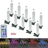SAILUN 60 Stück RGB Bunt LED Weihnachtskerzen mit Fernbedienung Kabellos Dimmbare LED Mini Kerzen für Weihnachtsbaum, Weihnachtsdeko