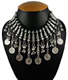 #4: Aradhya Oxidized Russian Silver and Green Beads Necklace Jewellery Green Beads for Women and Girls