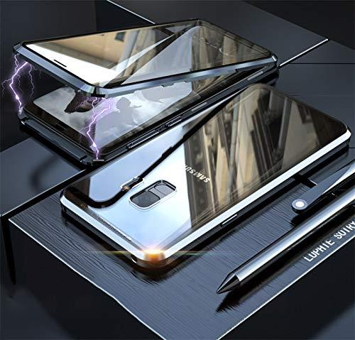 Yidai-Silu Galaxy S9 Rundumschutz Case, 【Vorn + Hinten 9H Glas, Stark Magnetisch】 Alu Bumper Durchsichtig Schale Handy Hülle Stoßfest Cover für Samsung Galaxy S9 5,8 Zoll - Schwarz -