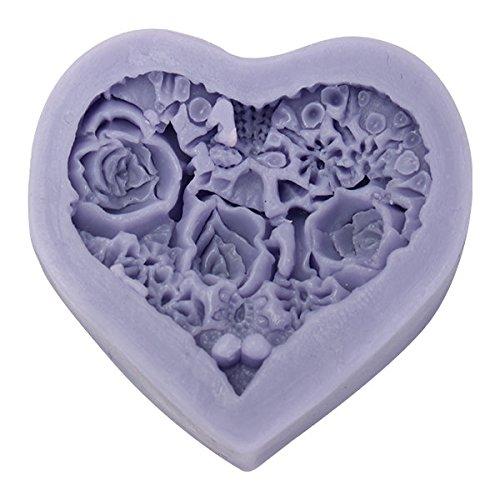 Bazaar 3D Herz Rosen Blumen Silikon Schokoladen Form Fondant Kerze Seifenform (3d-herz-silikon-schokoladen-form)
