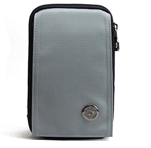 KISS GOLD wasserabweisende Hüfttasche Handytasche mit Karabiner & zwei Reißverschluss Taschen für Sport Silber (Star Moving)
