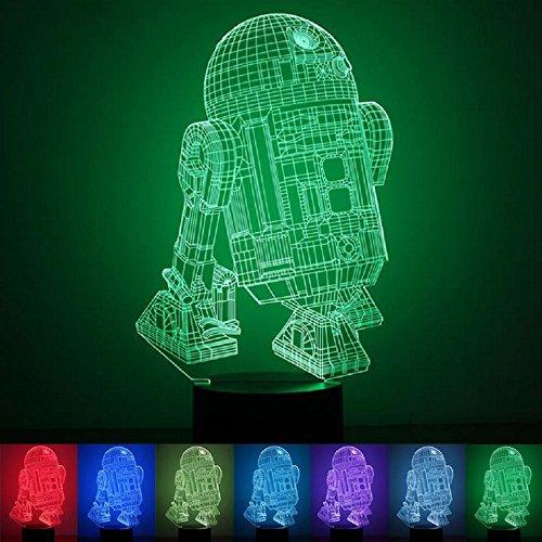 (3D Illusion Lampe, USB Nachlichter LED 7 Farben Touch-Schalter Ändern Nachtlicht für Wohnkultur, Kinder, Star Wars Fans,Weihnachten Valentine Geschenk Romantische Atmosphäre (R2D2-B))