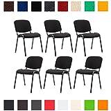 CLP 6X Konferenzstuhl Ken mit Stoffbezug oder Kunstlederbezug I 6 x Stapelstuhl mit robustem Metallgestell I erhältlich Stoffbezug: Schwarz