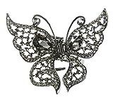 Glamour Girlz Damen-Haarspange, Schmetterlingsform, Schwarz und Dunkelgrau, Vintage-Stil, aus Metall, mit Kristallsteinen